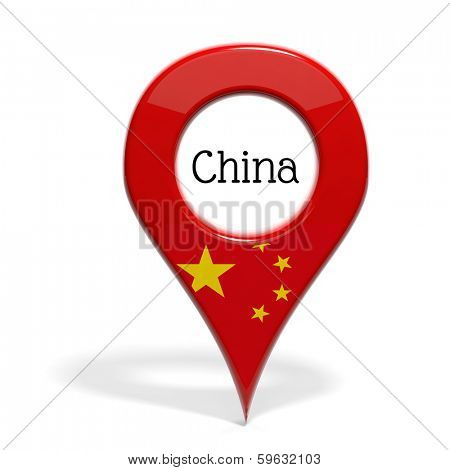 3D pinpoint with flag of China isolated on white
