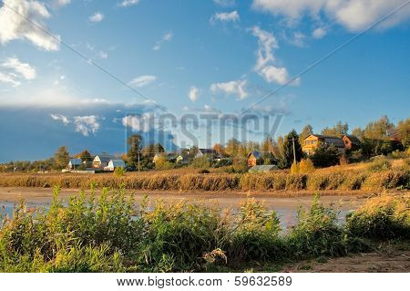 Autumn on river bank