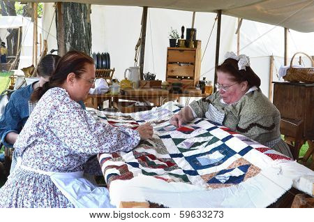 Civil-war Era Reenactors Quilting