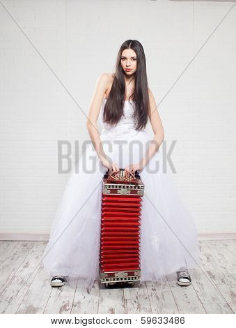 Runaway Bride with Russian accordion. Bride sneakers. Wedding