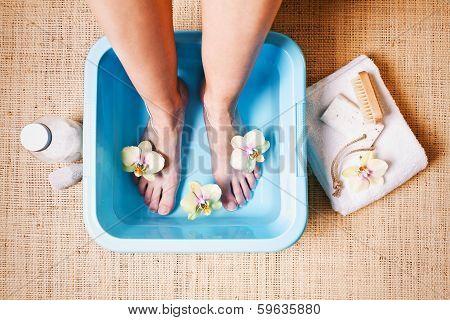 woman taking a Foot Bath