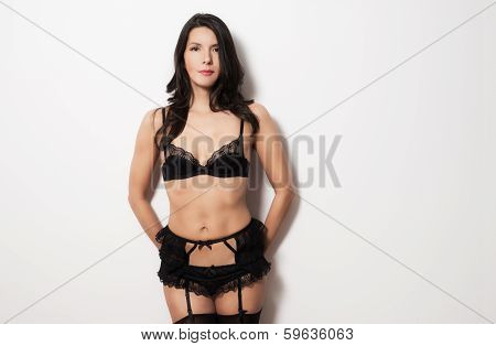 Beautiful Woman Wearing Sexy Black Underwear