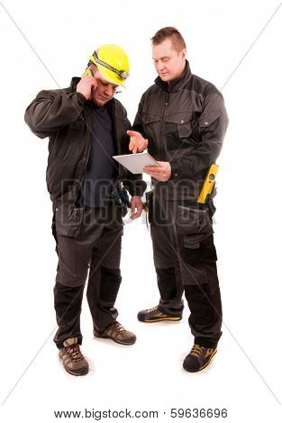 Two Engineers looking at tablet pc isolated on white background