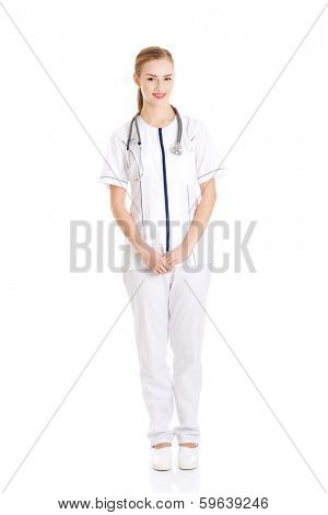Portrait of caucasian nurse, doctor woman. Isolated onw hite.