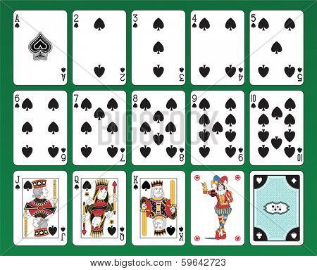Set of playing cards of Spades on green background. The figures are original design as well as the jolly, the ace of spades and the card back.