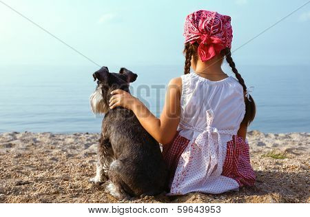 Beautiful  Girls Embracing Her Dog
