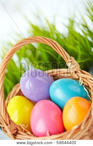 Image of colored Easter eggs in basket