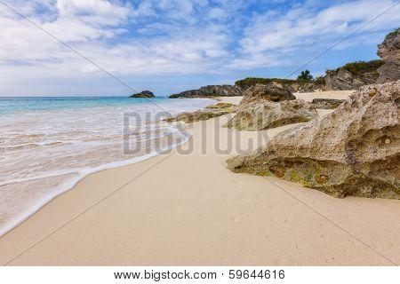 View of a secluded beach of pink sand on the south shore of Bermuda.