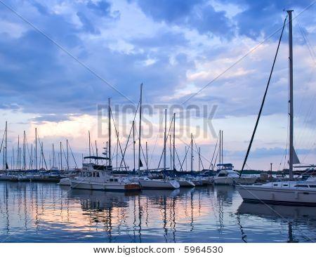 Yachts And Boats At Sunset