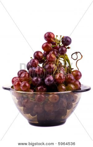 Path of Grapes In Bowl Isolated On White Background