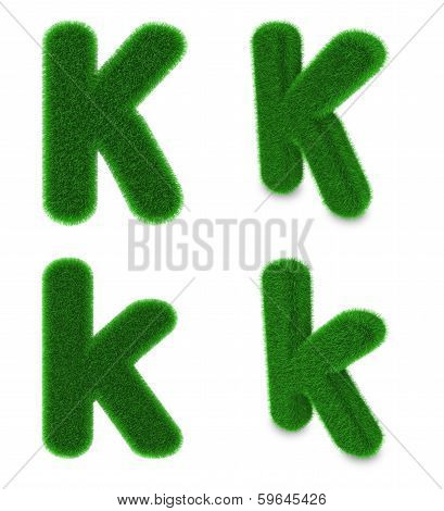 Letter K Made Of Grass