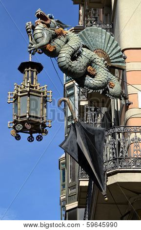 Chinese dragon detail in Barcelona, Spain