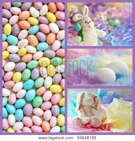 Easter collage includes a macro of speckled, pastel colored jelly beans, and still life images of eggs and easter bunnies with pastel backgrounds.