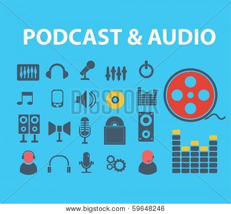 flat audio, podcast, media icons set, vector