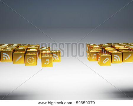 3d image of broken golden bridge