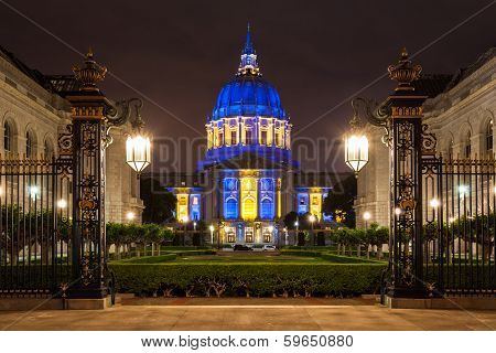 San Franicisco City Hall In Blue And Gold
