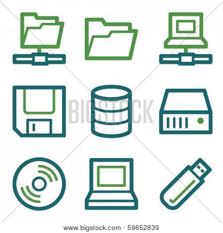Drive and storage web icons, green line set