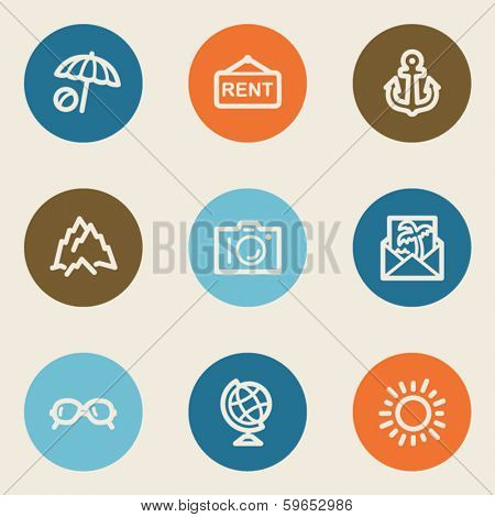 Travel web icon set 5, color circle buttons