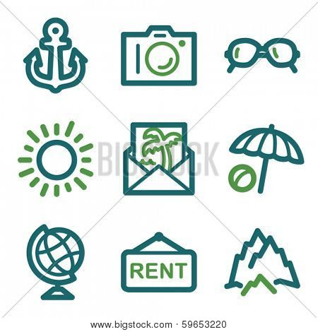 Travel web icons, green line set
