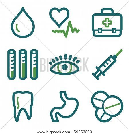 Medicine web icons, green line set
