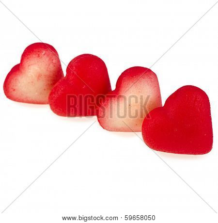 Sweet Red Marzipan heart candy  isolated on white background