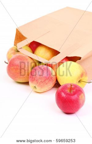 Shopping Brown Gift Bags And Apple Isolated