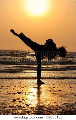 Taekwondo man Kicking