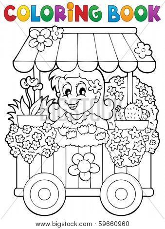 Coloring book flower shop theme 1 - eps10 vector illustration.
