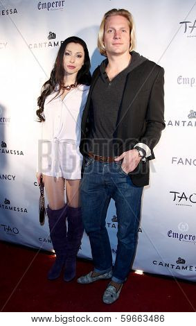 NEW YORK-FEB 10: Actress Liza Kaymin and Kyle Rosko attend the Cantamessa Men Launch Party at Tao Downtown Lounge on February 10, 2014 in New York City.