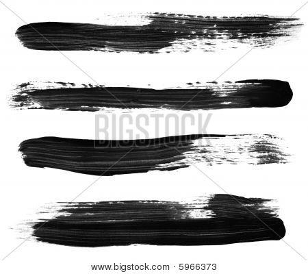 Trazos de pincel de pintura negra