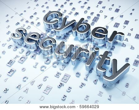 Security concept: Silver Cyber Security on digital background