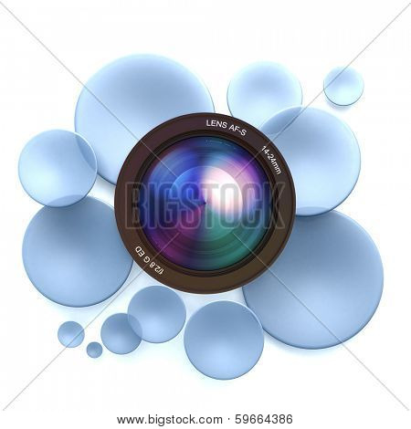 Blue disks and a camera lens