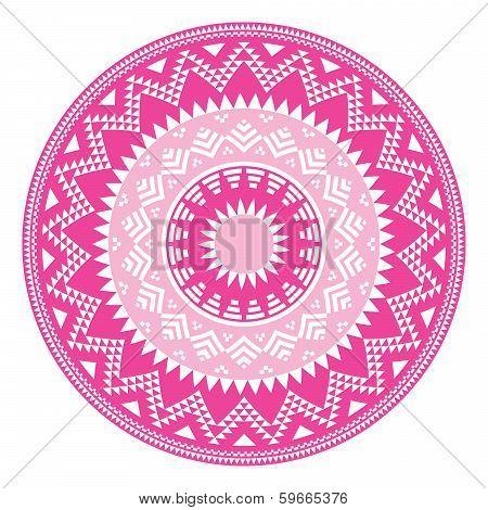 Tribal folk aztec geometric pink pattern in circle