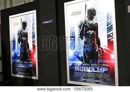 LOS ANGELES - FEB 10: Atmosphere, Poster, at the premiere of Columbia Pictures' 'Robocop' at TCL Chinese Theatre on February 10, 2014 in Los Angeles, California