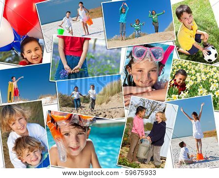 Montage of interracial group of happy children, girls and boys playing having fun in swimming pool, at the beach in fields and in the garden.