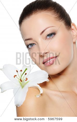 Face Of Health Woman With Lily Close Her Face