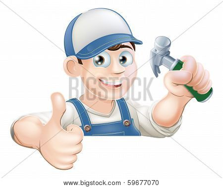 Claw Hammer Man Over Sign Thumbs Up
