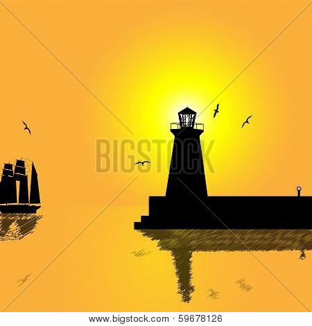 Sunset-Lighthouse And Sailboat