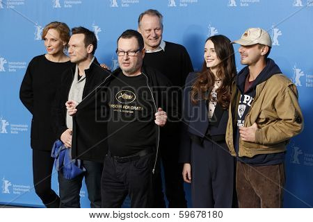 BERLIN - FEB 9: Shia LaBeouf, Stellan Skarsgard, Christian Slater, Stacy Martin, Lars von Trier, Uma Thurman, 'Nymphomaniac Volume I' photocall - 64th Berlinale on February 9, 2014 in Berlin, Germany