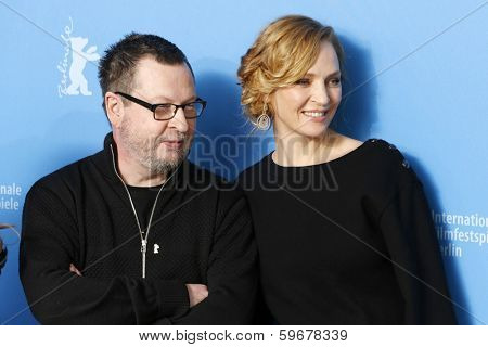 BERLIN - FEB 9: Lars von Trier, Uma Thurman at the 'Nymphomaniac Volume I' photocall - 64th Berlinale International Film Festival at Grand Hyatt Hotel on February 9, 2014 in Berlin, Germany