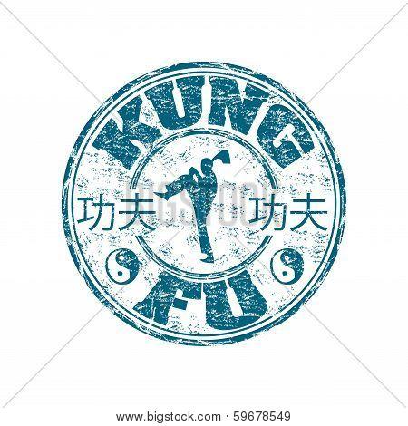 Kung Fu grunge rubber stamp