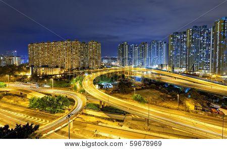 aerial view of the city overpass at night, HongKong,Asia China