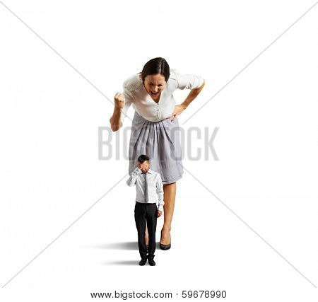 discontented businesswoman screaming at tired man. isolated on white background