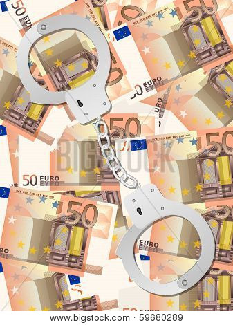 Handcuffs On Fifty Euro Background Vertical
