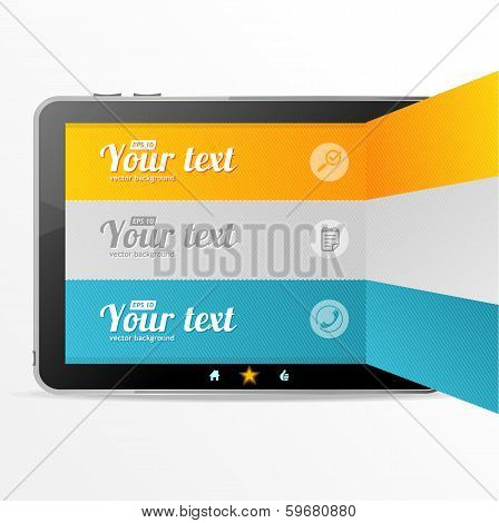 Vector text boxes, infographics on tablet like ipad
