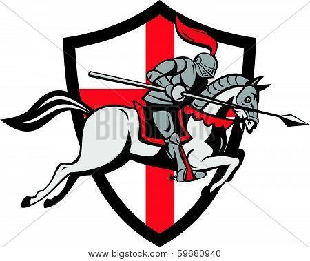 English Knight Riding Horse England Shield Retro