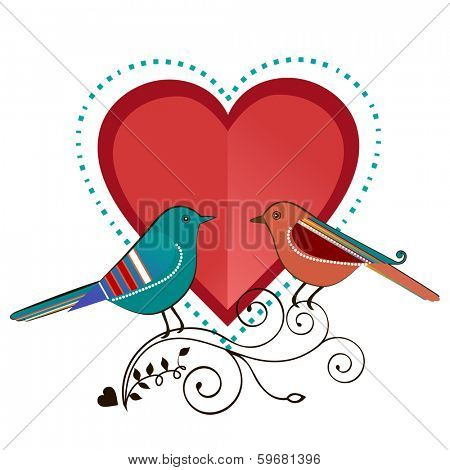 Love birds with heart