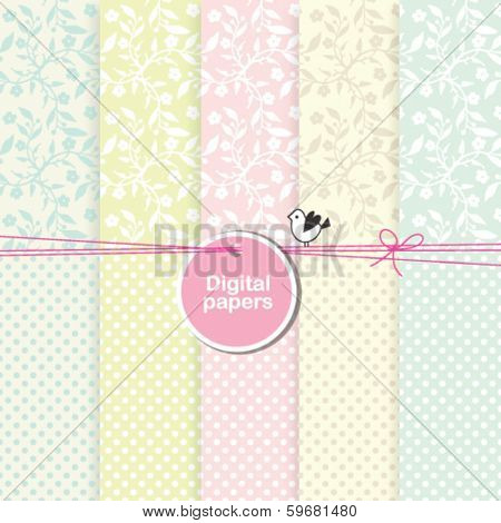 Scrapbook paper Floral backgrounds for invitations, birthday cards, weddings, baby shower