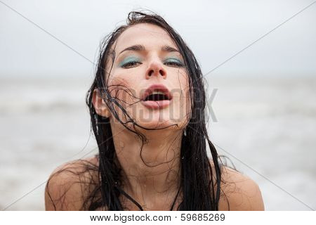 Frozen Wet Young Woman