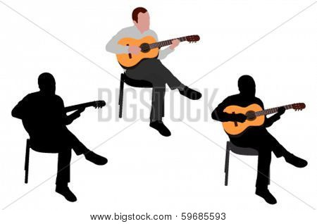 man playing acoustic guitar silhouette and illustration